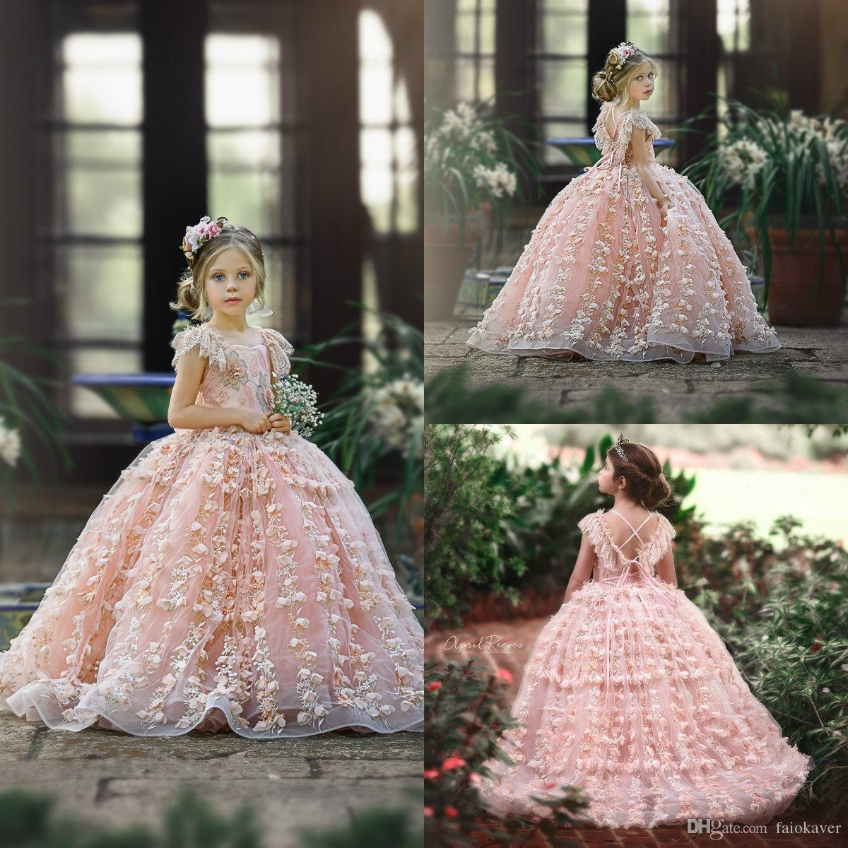 Flower Girls Bridesmaid Lace Dress Kids Birthday Pageant Easter Wedding Dresses