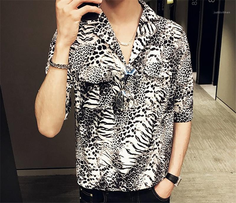 Down Collar Casual Tees Short Sleeve Contrast Color Mens Single Button Tops Mens Designer Leopard Print Shirts Turn