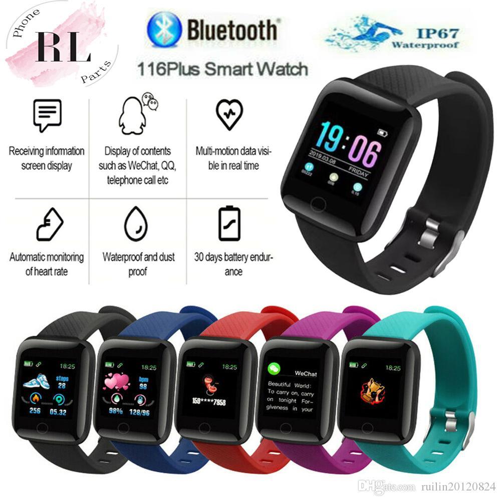 جديد الرياضة ID116 زائد ساعة ذكية شاشة ملونة مع النشاط رصد معدل ضربات القلب تعقب جهاز محمول ذكية
