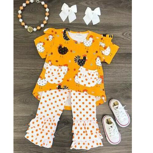 2019 Marque Tout-petit bébé fille Vêtements Thanksgiving Coton Hauts mignon Turquie T-shirt Ruffle Dot Long Pants Costume Set