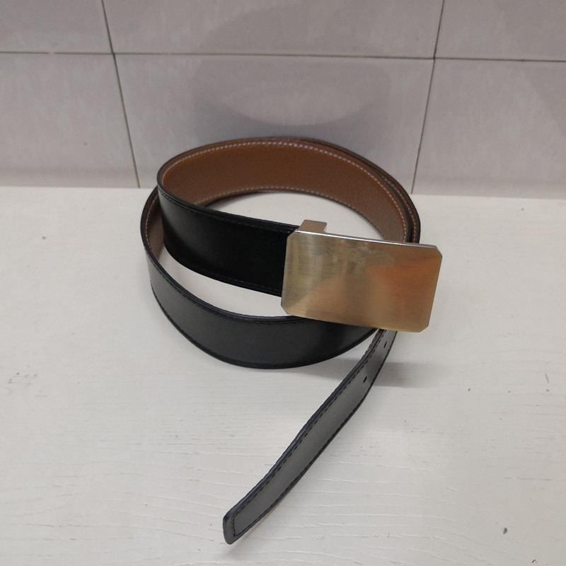 2019 Best-vendita di pelle di alta qualità Belt uomini e donne d'oro in argento fibbia fibbia nero Consegna gratuita con la scatola