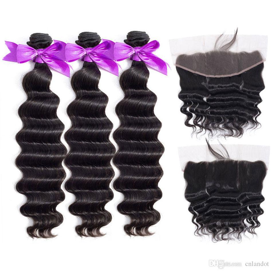 Бразильский перуанский Малазийский Индийский Сыпучие глубокая волна Вьющиеся волосы девственницы Плетение 3 пачки с кружевом фронтальным Closures 100% Remy человеческих волос