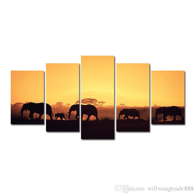 5 Pcs Combinations HD Art wilderness Desert Elephant Herd Sunset framed Canvas Painting Wall Decoration Printed Oil Painting poster