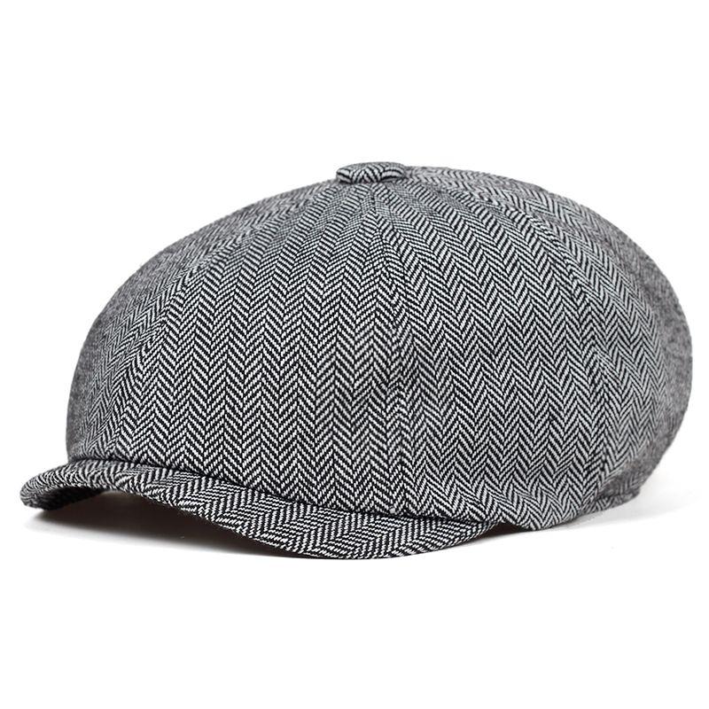 2019 nueva raya de la moda masculina Beckham octogonal Cap Est hombres de lana vendedor de periódicos del sombrero de la boina del pintor Caps sombreros casuales