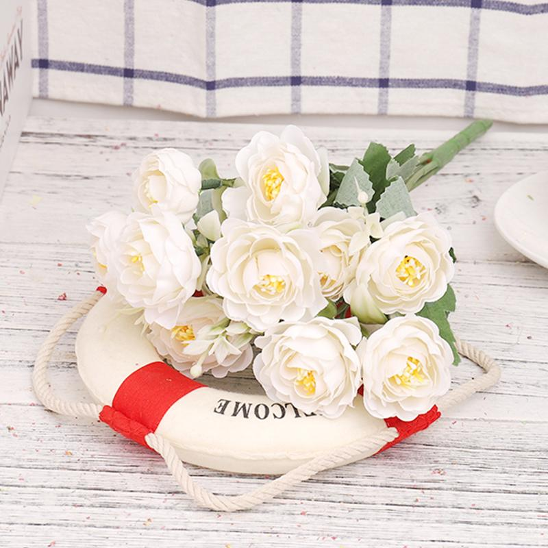 White Silk Flowers Artificial Rose High Quality Bouquet Wedding Decoration Beautiful Fake Flower Home Decor Bedroom Living Room