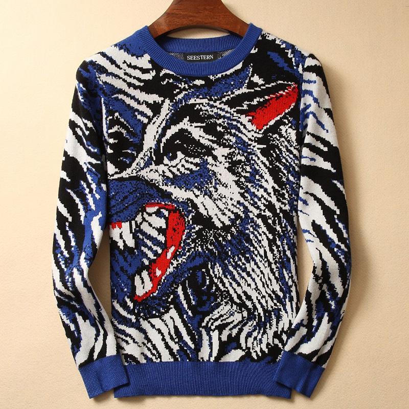 бренд одежды моды животное свитер мужчин Камуфляж волк свитера с длинным рукавом теплые верхние части хип-хоп мужской волчий случайный