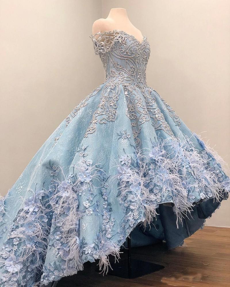 2020 Blue Sky High Low Prom Vestidos Off The Shoulder 3D florais Appliqued Beads vestido de baile Quinceanera Vestidos Meninas Pageant vestido formal