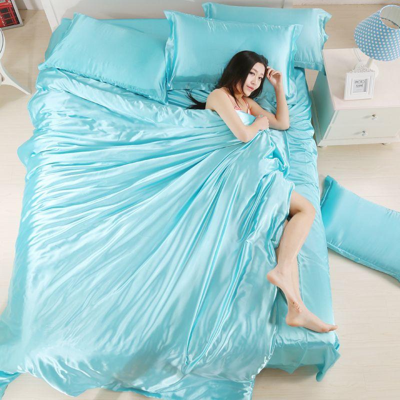 Schöne 100% reiner Seide Bettbezug Set König Twin Queen Size Solid Wasser blau Trösterbezug Set für Frauen von Bettwäsche Supplies