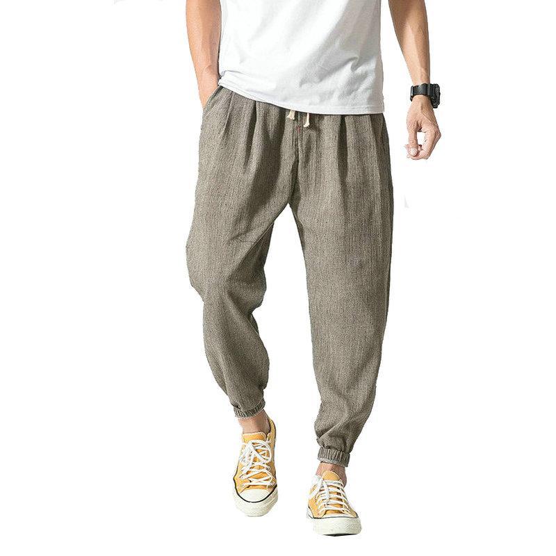 2020 Verão Outono Quente, Algodão, Linho Men Pants Casual estilo chinês masculino Calças Sweatpants Homens (Asian Tamanho)