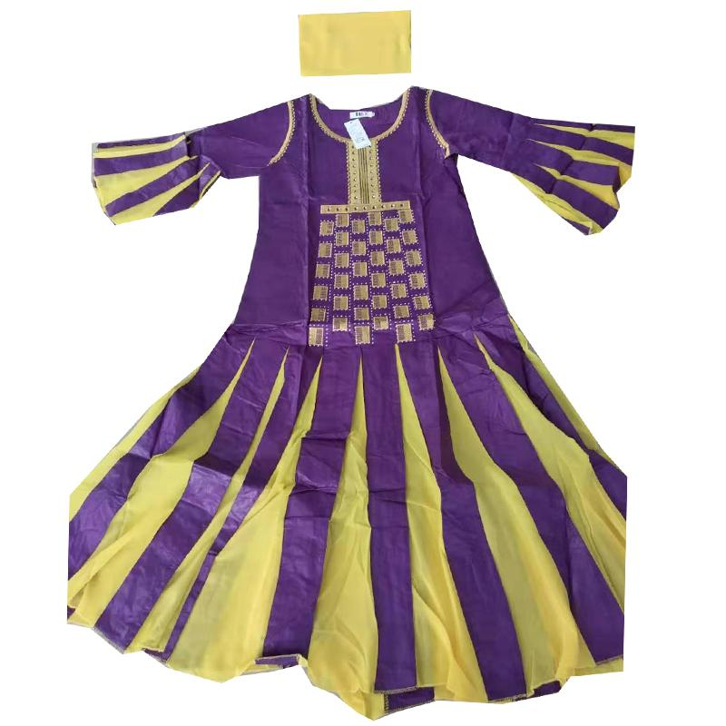 MD vestidos Bazin Africano de la Mujer bordado vestido largo de gasa cabeza envolver África dama vestidos de fiesta ropa de noche al sur