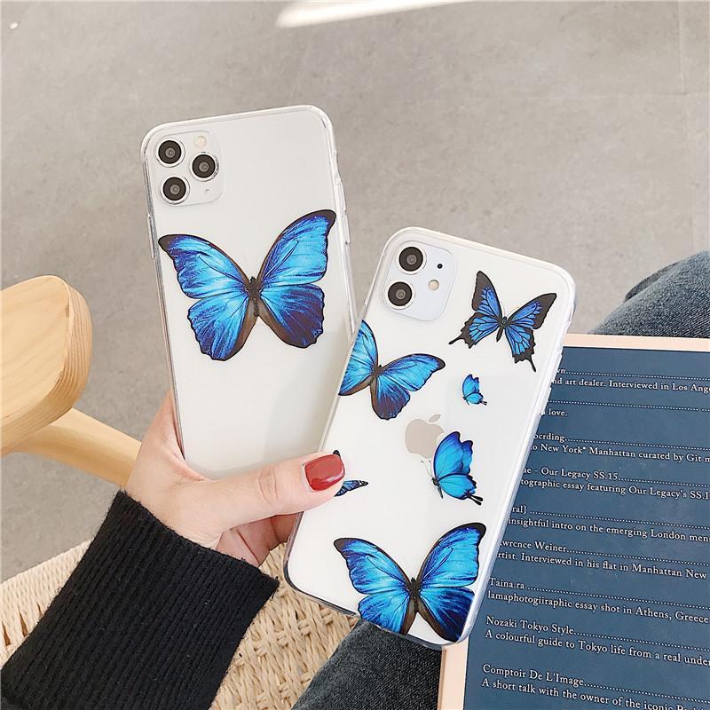 Lovebay Transparent Netter Schmetterlings-Telefon-Kasten für iPhone SE 2020 11 Pro Max weiche TPU löschen rückseitige Abdeckung für iPhone 6 6s 7 8 Plus
