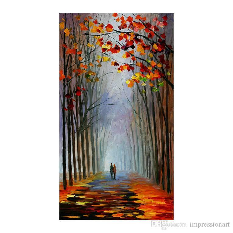 Compre El Bosque Paisaje Pintado A Mano Pintura Al Óleo Murales Comedor De  Europa Tipo Salón Sofá Fondo Decoración Pintura Porche A $20.79 Del ...