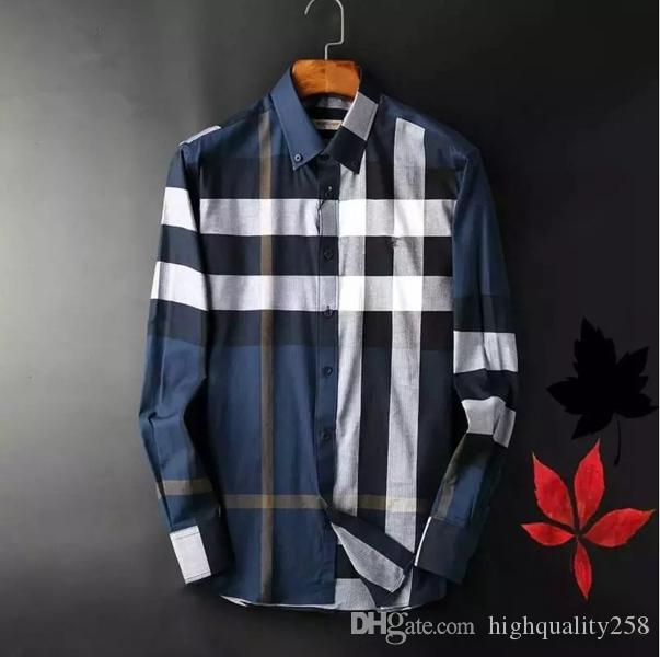 2020 İtalyan Marka lüks erkek tasarımcı elbise gömlek Mens Yeni uzun Pamuk Erkekler gömlek Marka Tasarımcı Casual Spor Giyim Tees Tops manşonlu