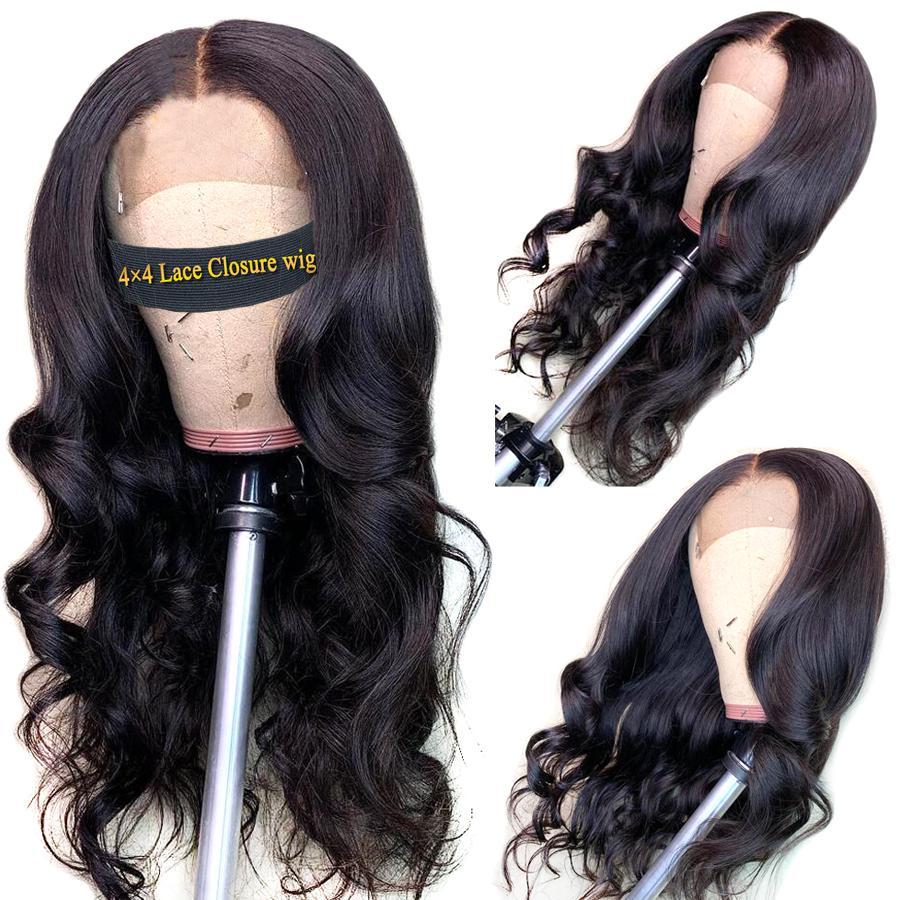Cheveux Perruques Lace Front perruques de cheveux humains 4 * 4 dentelle fermeture perruque corps brésilien vague perruque pour femmes noires Fairgreat dentelle Frontal perruque