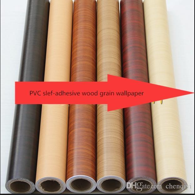 DIY Door wood grain self-adhesive wallpaper wall sticker renovation wardrobe door furniture cabinet bedroom waterproof