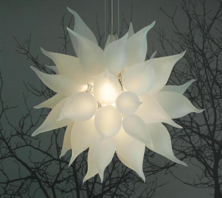 Artistic Round LED Crystal Chandelier Lights White Wedding Home Decorative Suspension Pendant Lamp Hand Blown Glass Chandelier Lighting