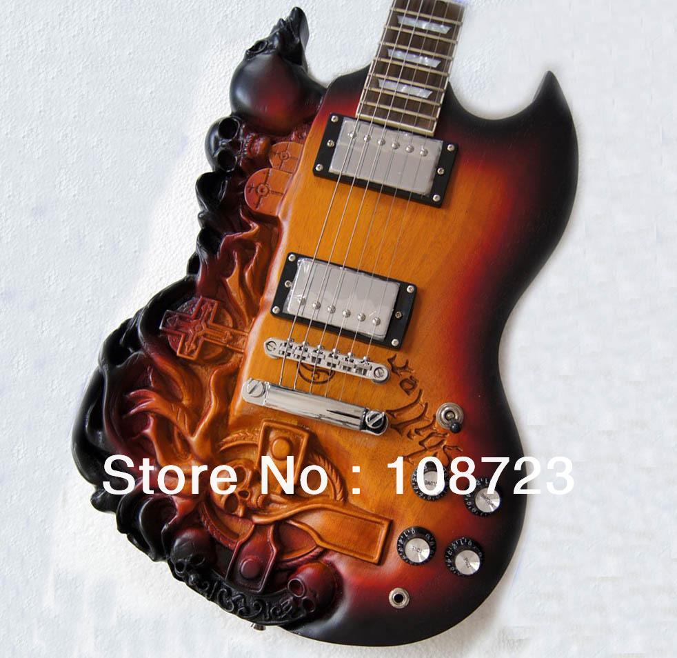 2019 الجديدة SG نحت الجسم الجمجمة الغيتار الكهربائي مع الماهوجني أمة الله اللون شحن مجاني