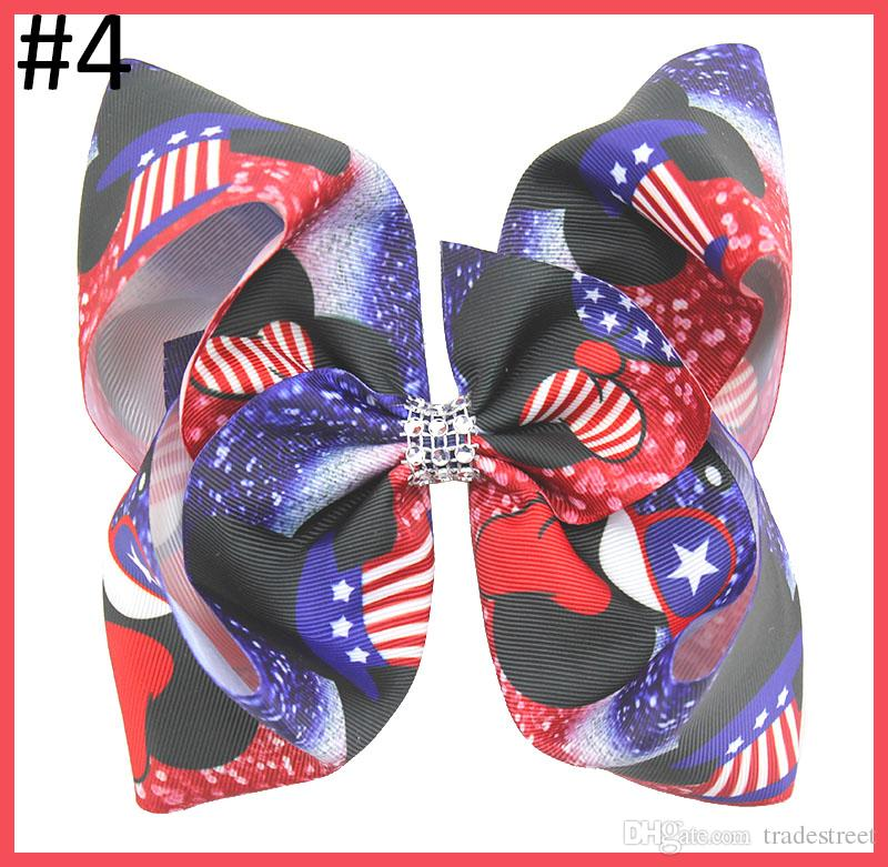 12pcs frete grátis 7-8 '' grande dia 4 de julho cabelo arcos Dia da Independência arcos de cabelo vermelho grande grampos grandes branco e azul para a menina do cabelo dia patriótico