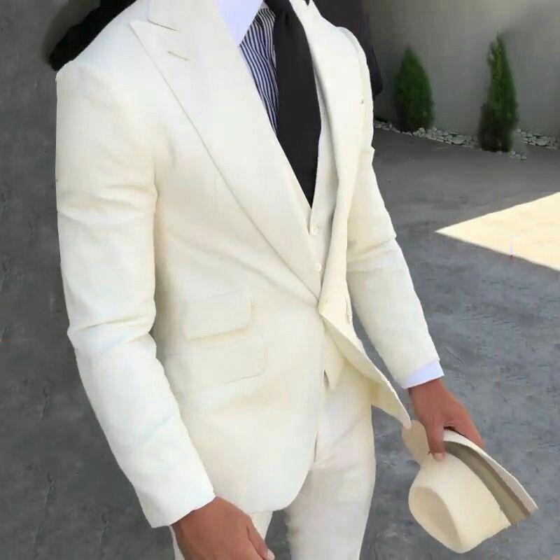 Ivory Linen Wedding Suits for Man Groom Tuxedos Bridegroom Blazers Slim Fit Smoking Jacket 3Piece Latest Coat Pant Designs Costume Homme