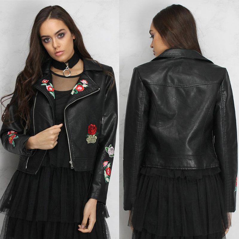 Autumn Women's Wear New Embroidered Jacket Short Zipper Locomotive Short Leather Coat