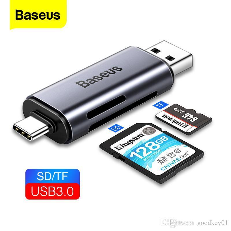 Baseus قارئ بطاقة USB 3.0 2 في 1 SD / TF بطاقة محمول للكمبيوتر الحاسوب الهاتف المحمول وتغ الذاكرة الذكية نوع C قارئ بطاقة محول