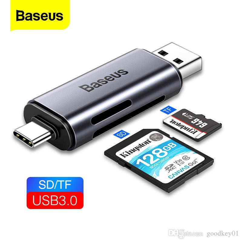 قارئ بطاقة Baseus USB 3.0 2 في 1 SD / TF بطاقة لجهاز الكمبيوتر المحمول الكمبيوتر المحمول الهاتف OTG الذكية نوع ذاكرة C محول قارئ بطاقة C