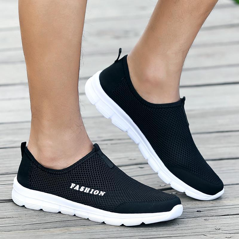 Unisex Rahat Işık Sneakers Erkekler Nefes Örgü Düz Ayakkabı Erkekler Moda Mocassim Masculino Loafer'lar Rahat Ayakkabılar üzerinde ...