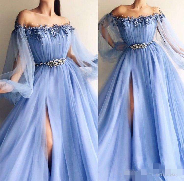 2020 Sky Blue Abendkleider Lange Poet Illusion Ärmel Sheer Ausschnitt Perlen Tüll Sexy High Slit nach Maß Prinzessin formales Abendkleid