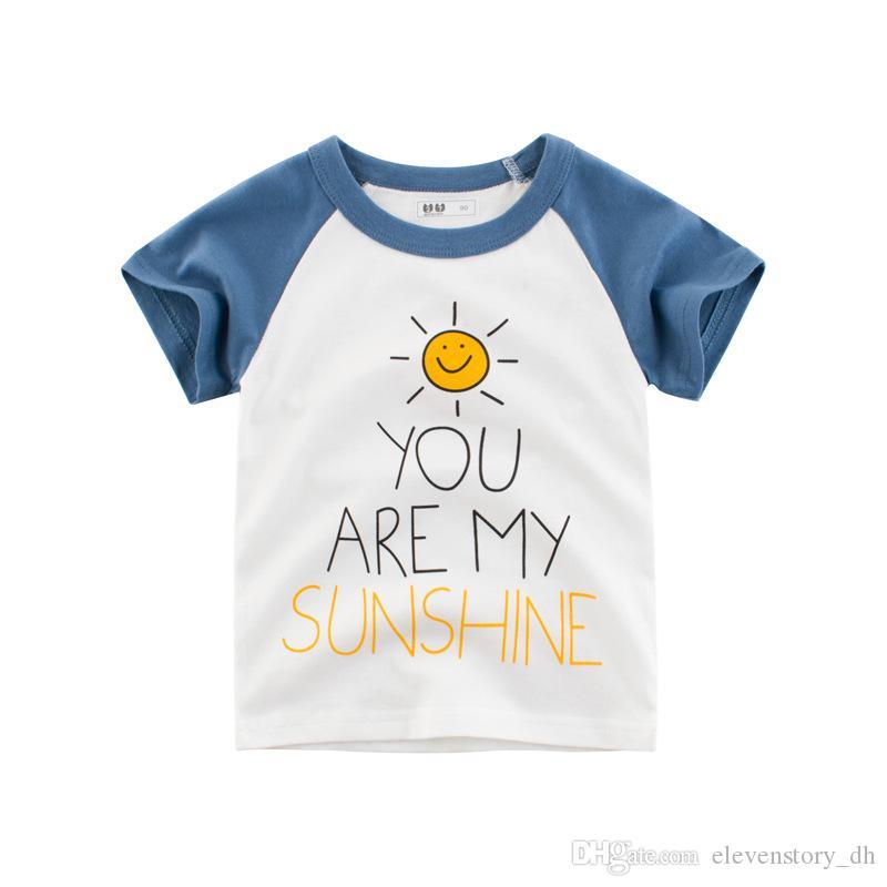 Лето от 2 до 8 лет мальчики напечатаны буквы хлопка Тис, 2019 Детская одежда для девочек Топы, детская одежда для детей, 2AZB812TP-10