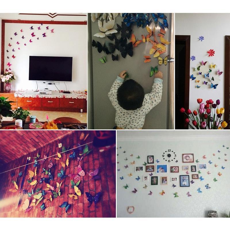 12pcs 3D Butterfly Wall Sticker PVC Simulation Stereoscopic Butterfly Mural Sticker Fridge Magnet Art Decal Kid Room Home Decor VT0446