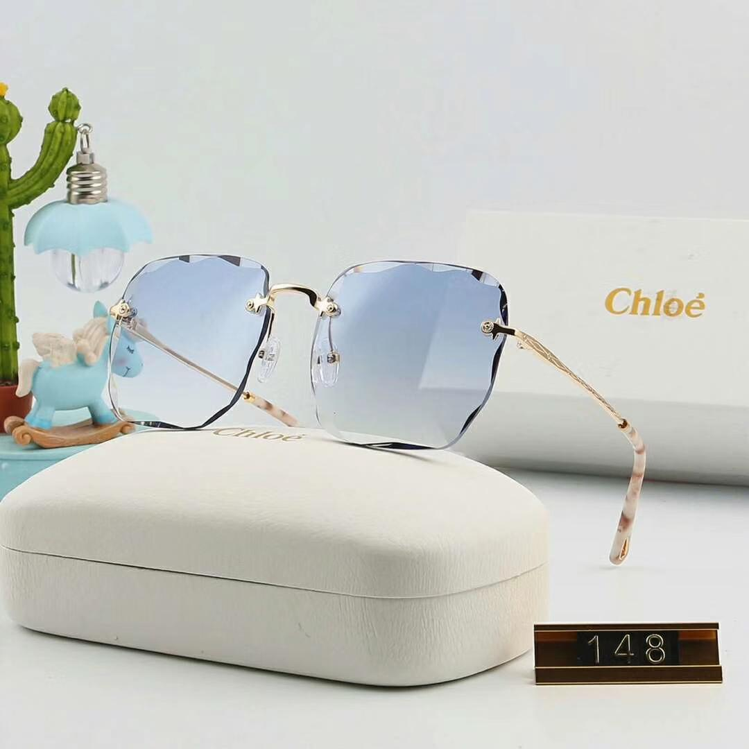 Designer Sunglasses Luxury Sunglasses Brand C148 Rimless glass Fashion for Woman Refined Adumbral Glasses UV400 with Box High quality 6color
