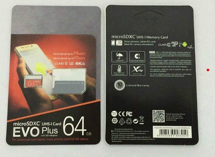 1 PCS 32GB / 64GB / 128GB / 256GB EVO + PLUS Micro SD Card U3 / Smartphone TF Card C10 / Tablet PC SDXC CARTÃO DE ARMAZENAMENTO 95MB / S