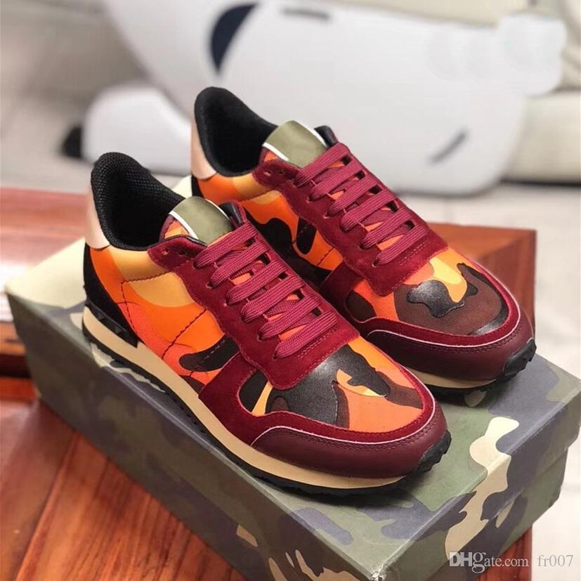 2020 Real Leather Suede Shoes Lace Rockrunner Uomini Stud Rivet Camouflage Sneakers Runner istruttori sportivi Casual Shoes unsex il formato euro 35-46