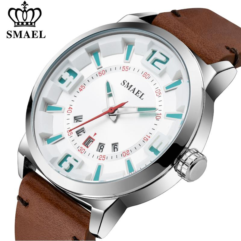 SMAEL мужская мода Спорт Повседневная водонепроницаемый кварцевые часы человек кожа военные часы Наручные часы Relogio Masculino