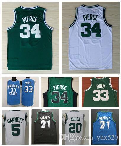 broderie de qualité supérieure # 34 Paul Pierce Jerseys État blanc vert Indiana Sycamores 33 # Larry Bird Jersey 20 # Ray Allen 5 Kevin Garnett jerse
