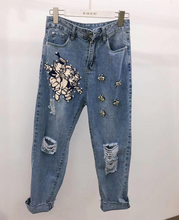 Moda-2019 Yaz Yeni Moda Kadınlar Jeans Three Little Pig Arılar Yüksek Kalite Lüks Casual Pantolon Kot Femme Boyut S-L