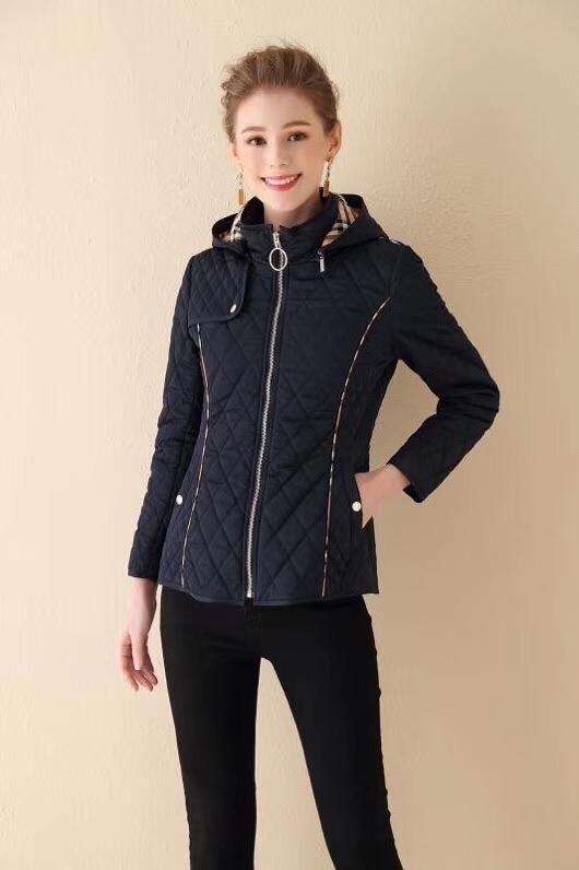 Sra. De algodón acolchada chaqueta corta delgada de la chaqueta de algodón acolchado abrigo señoras gruesas Linger sombrero desmontable calientan negro rojo QQ7 azul de invierno de color caqui