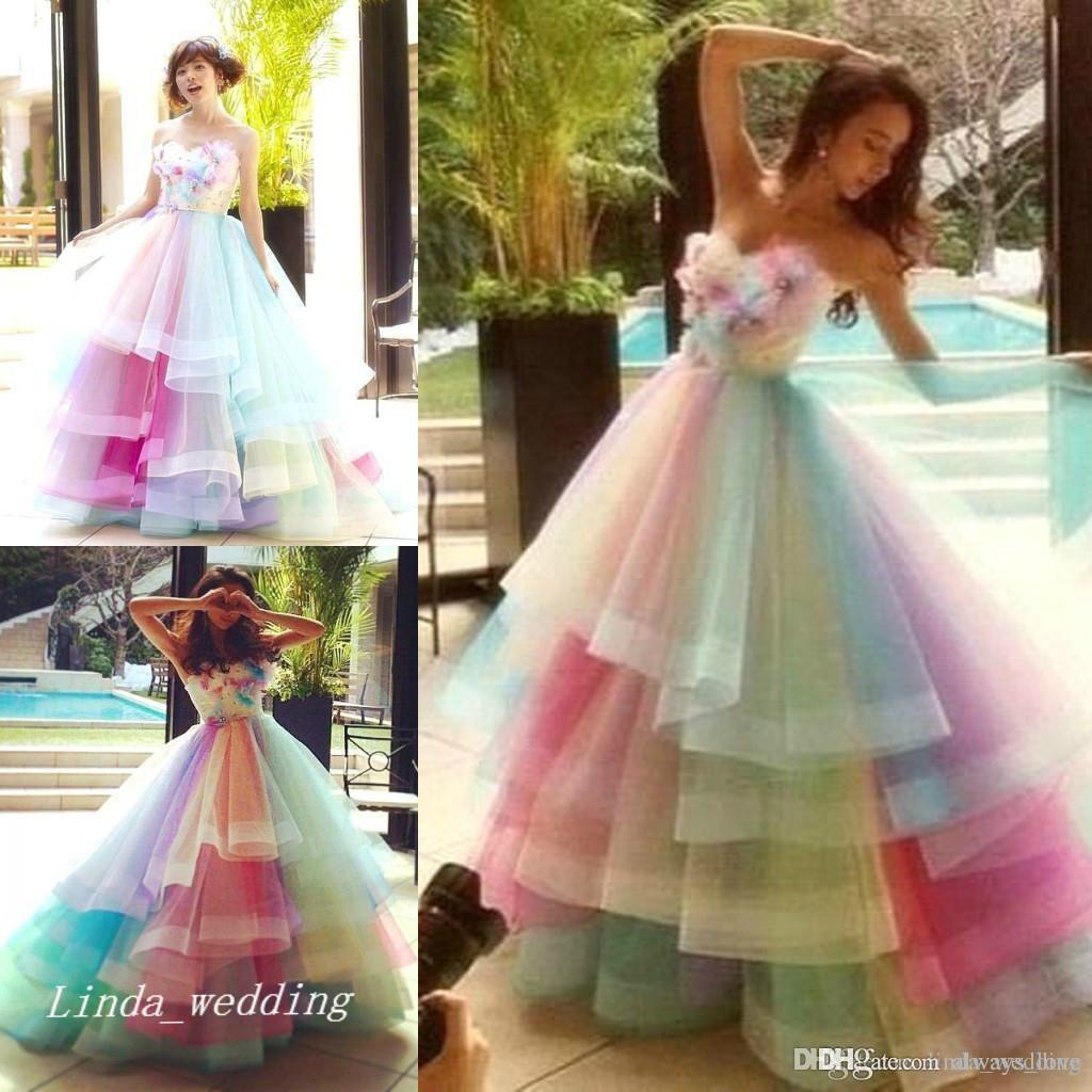 2019 Rainbow Multi Colors Prom Dress High Quality Ball Gown Sweetheart Long Tulle Colorful Special Occasion Dress Formal Party Dress