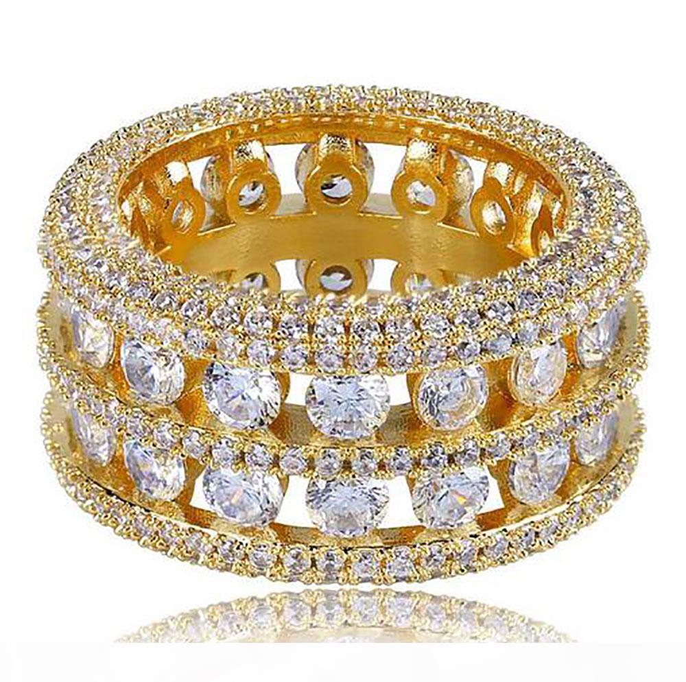 Канал мужские 2 ряда набор полых 360 обручальное кольцо золото CZ Шику кольца полный имитация алмазы микро-проложить камни хип-хоп кольца