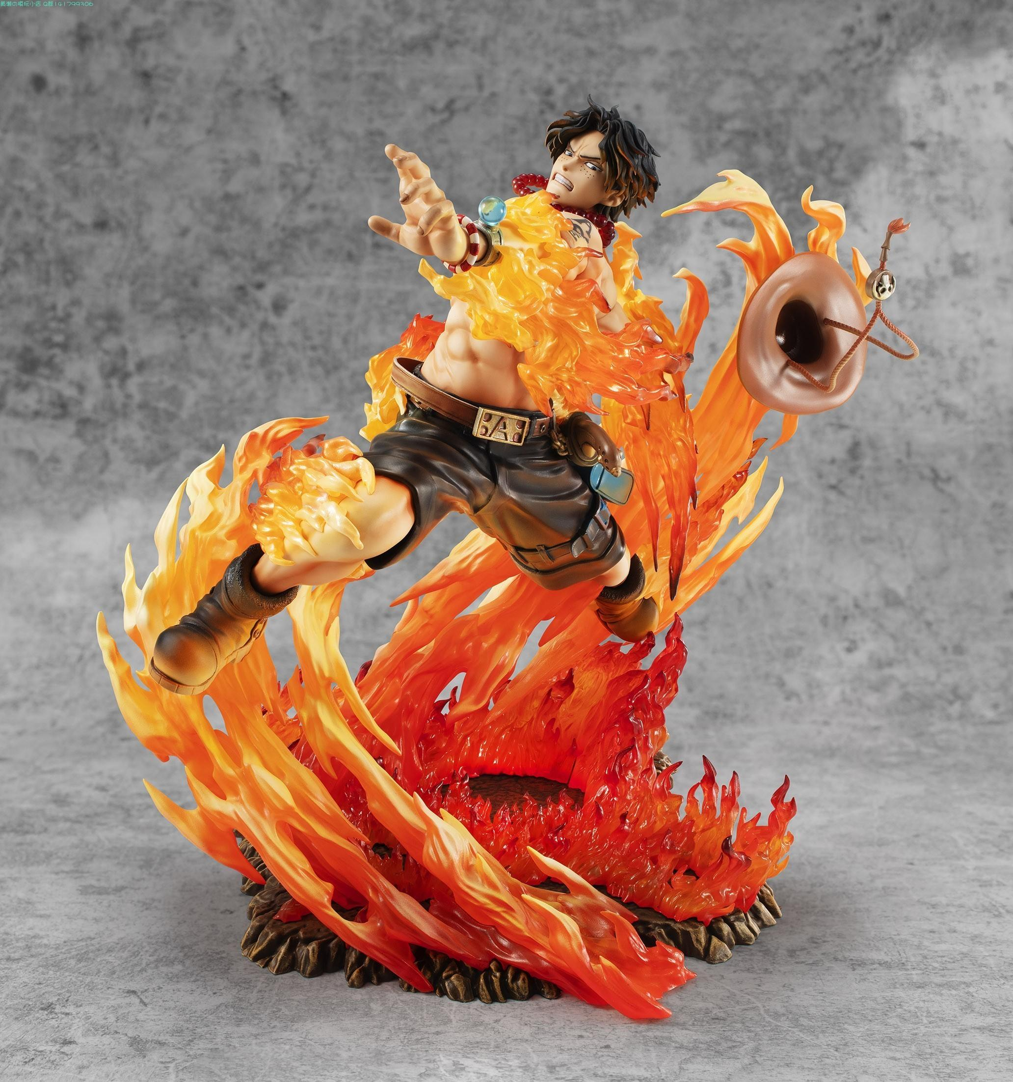 new 25cm One Piece Ace Fire Fist PVC Action Figure One Piece Anime Portgas * D * Ace 15th Anniversary Max Collection Figurine Toy Y200421