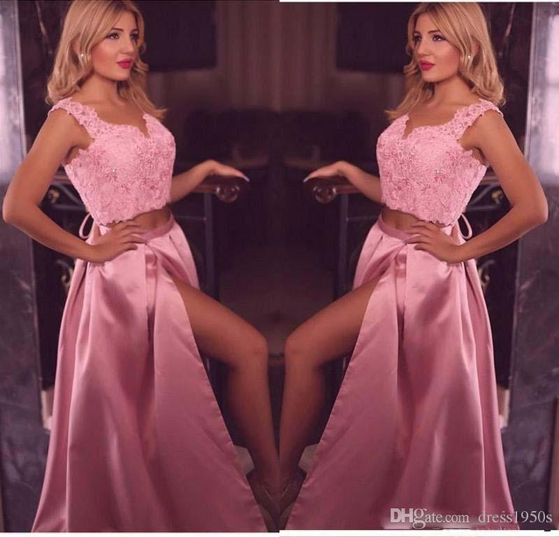 2019 V Neck Duas Peças A Linha Lace Apliques de Baile Vestidos Longos Dividir Formal Mulheres Ocasião Especial Desgaste Do Partido Vestidos de Noite Custom Made