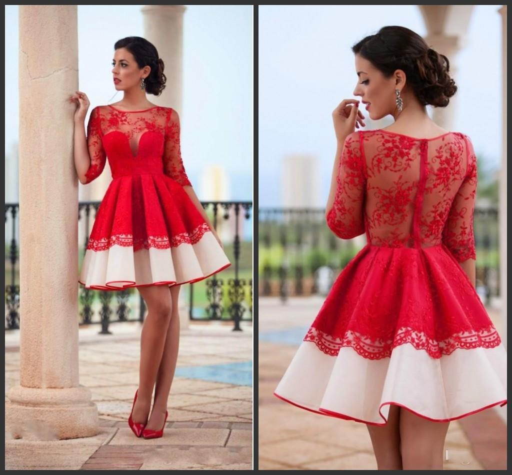 2020 pizzo rosso del vestito da cocktail Spanish Style Breve partito convenzionale vestito Homecoming Dress Vestidos de fiesta cortos
