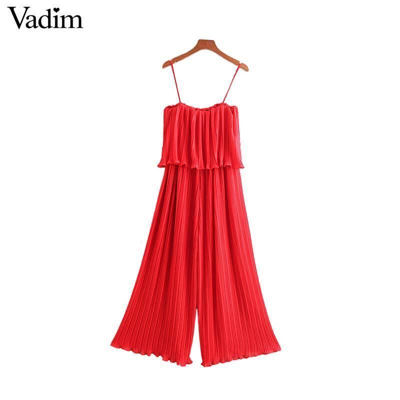Vadim Women Chiffon Red Black Pleated Jumpsuits Elastic Waist Ruffles Sleeveless Backless Rompers Female Chic Playsuits Ka851 Y19071701