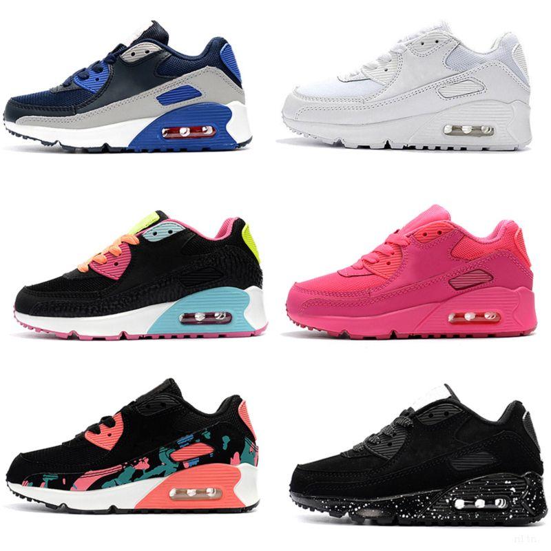 Nike air max 90 crianças Novos Sapatos clássicos sapatos de corrida Black Red White Sports instrutor Air Cushion superfície sapatos respirável Sports 26-35