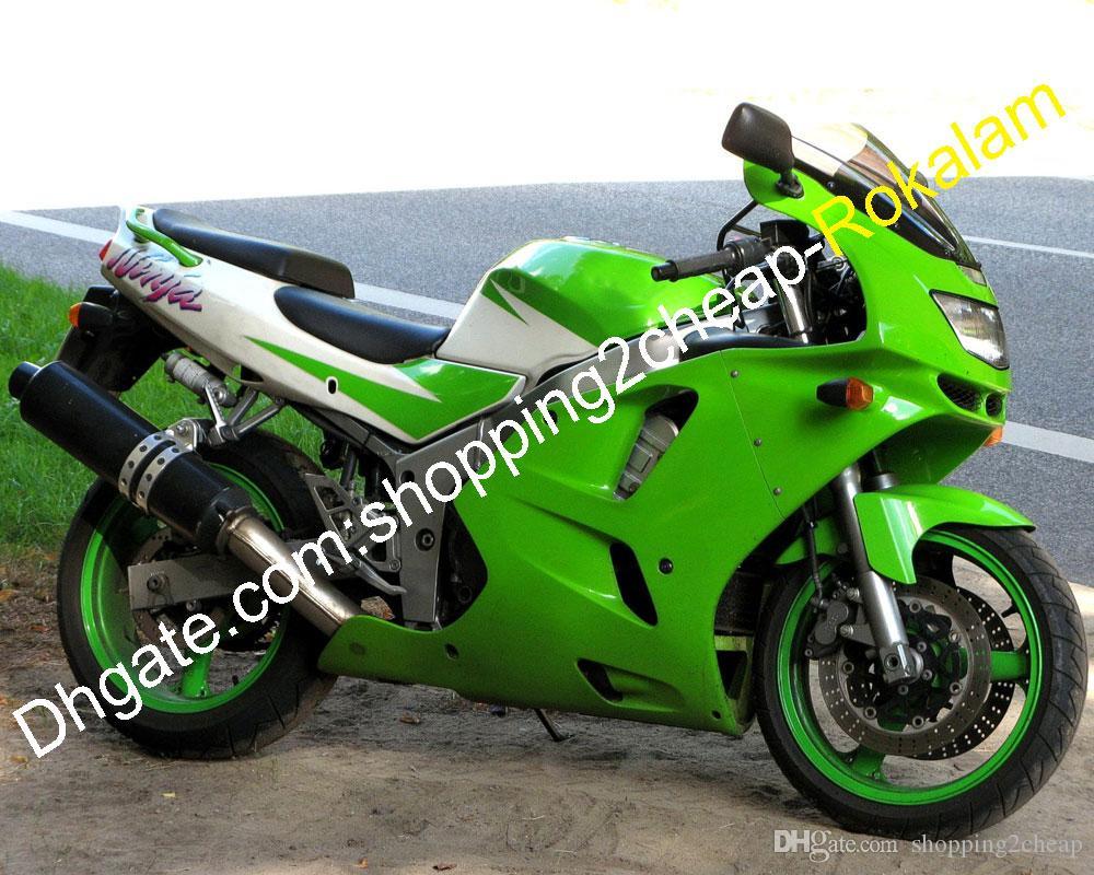 Blanco Green ZX6R carenado para Kawasaki Ninja ZX-6R 1994 1995 1996 1997 ZX 6R 94 95 96 97 Juego de carenados de plástico ABS