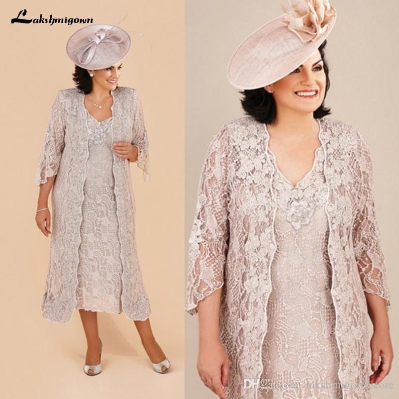 Plus Size Lace Mãe da noiva ternos vestidos com longas Jacket joelho manga comprida Mãe do noivo Vestidos