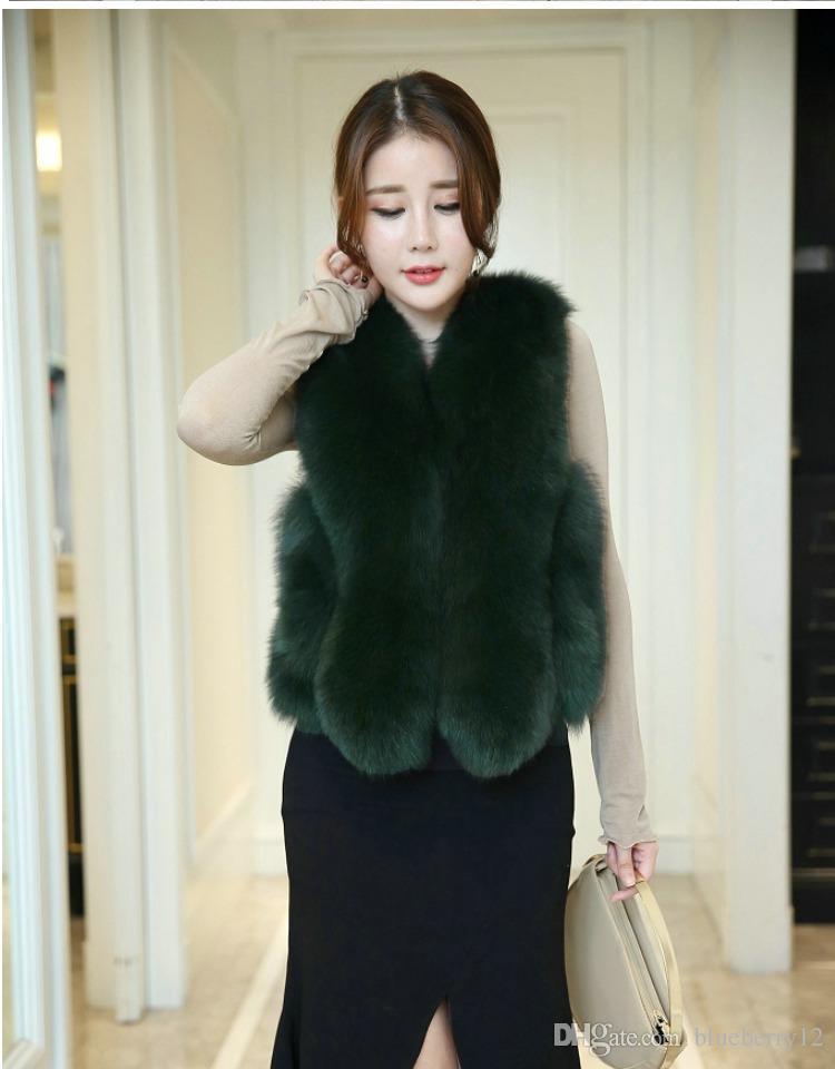 Womens Fox Fur Vest Short Coat Jacket Winter Warm Casual Waistcoat New Outwear