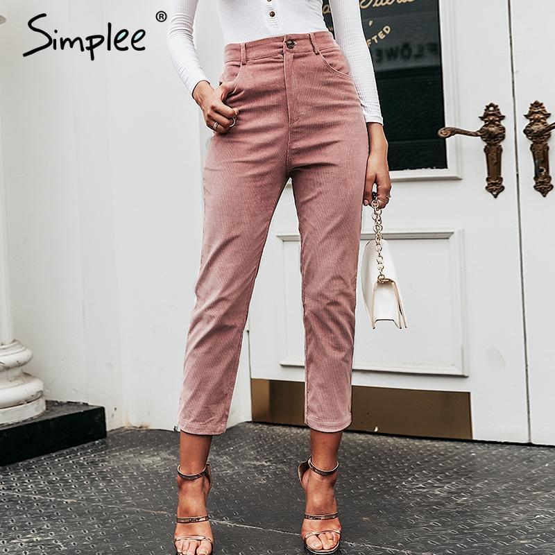 Simplee Yüksek bel streetwear kadın pantolon Katı ince düğmeler kadın pantolonu 2020 Zip bayanlar sonbahar kış iş elbisesi kalem pantolon