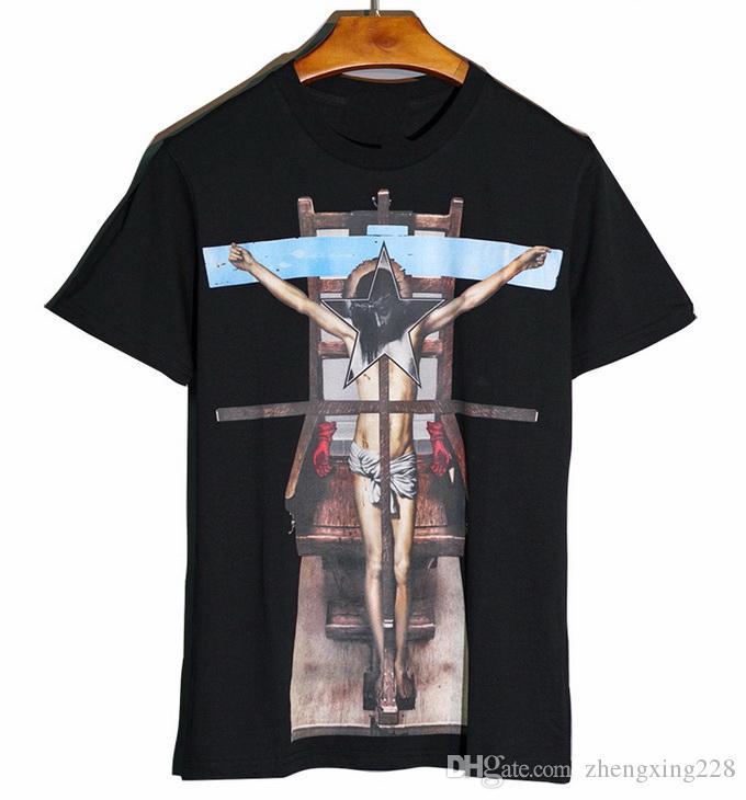 2019 Verão Novos Homens Mulheres Personalidade Jesus Cruz Impressão de Manga Curta T-Shirt da Juventude de Algodão de Alta Qualidade Sports T-Shirt Tops