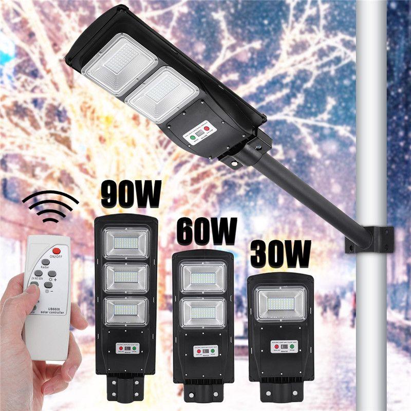 Nuevas luces de calle LED 30/60/90 W LED de iluminación solar al aire libre Radar PIR Sensor de movimiento Lámpara de sincronización de pared + Control remoto impermeable para Plaza Garden Yard